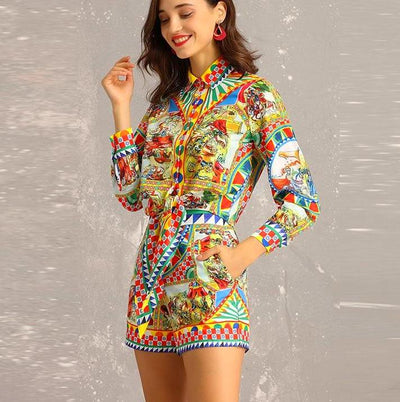 Beautiful Colorful Patterned Two-Piece Jumpsuit