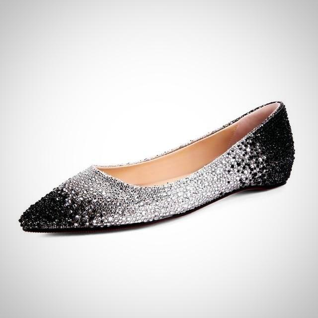 Fushcia Rhinestone Pointed Toe Flat Shoes