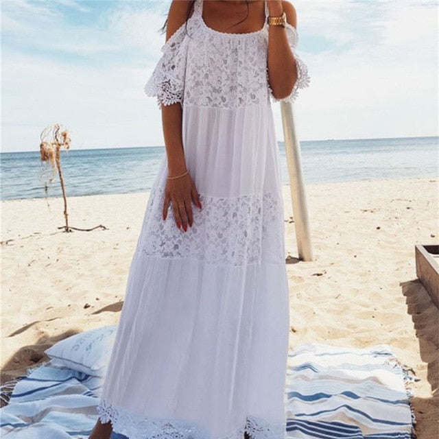 Stylish White Laced Bohemian Maxi Dress