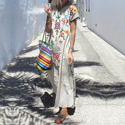 Short Sleeve Tassel Party Maxi Dress