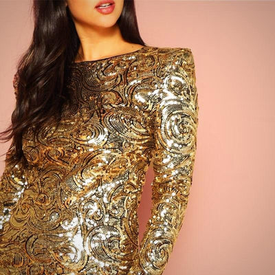 Gold Form Round Neck Body-con Dress
