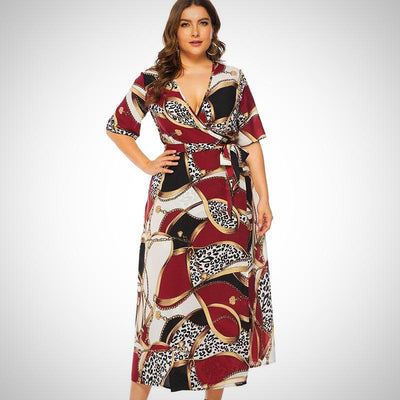 Vintage Boho Beach Plus Size Long Print Chiffon Dress