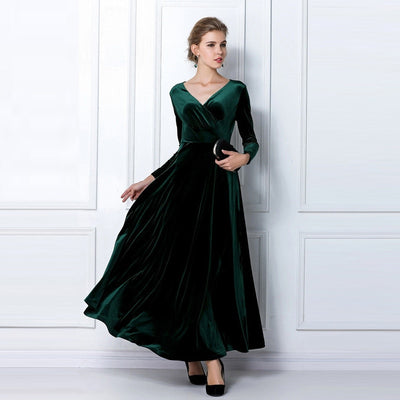 Plus Size Long Sleeve Velvet Party Ball Gown Dress