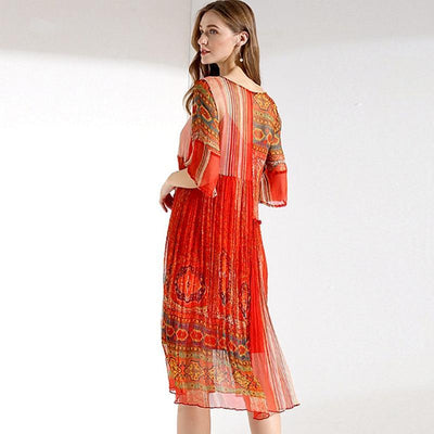 Plus Size Pretty Asymmetrical Patterned Summer Dress