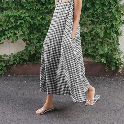 Sundress Plaid Long Maxi Dress