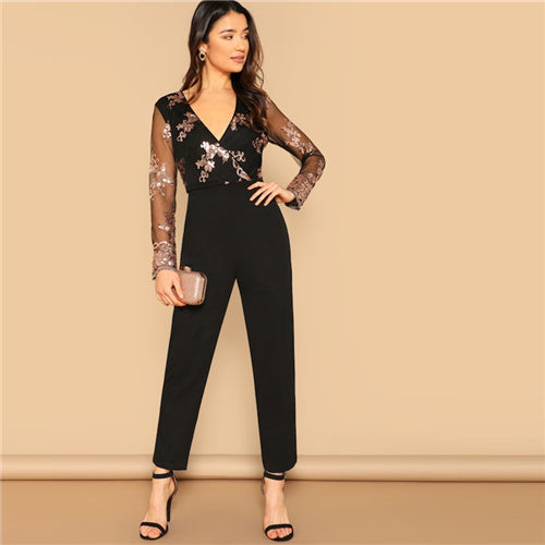 Mesh Sleeve Sequin Jumpsuit