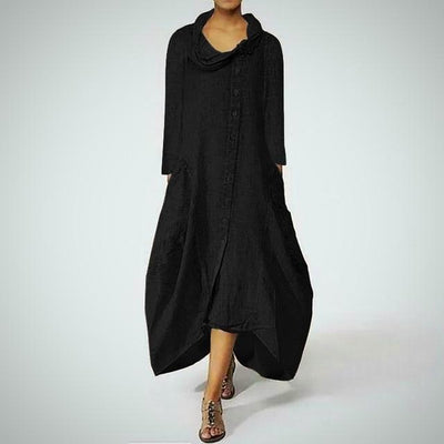 Plus Size Turtleneck Maxi Long Dress