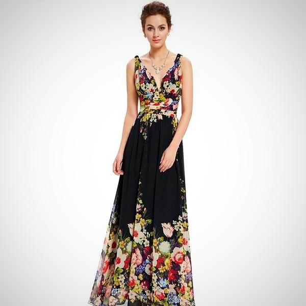 V-neck Black Flower Print Gown