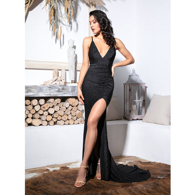 Stylish Black Bodycon Maxi Party Dress
