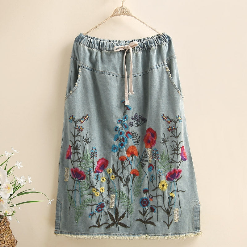 Tassels Cotton Long Mid-calf Skirts
