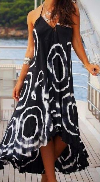 Stylish Patterned Boho Summer Beach Dress