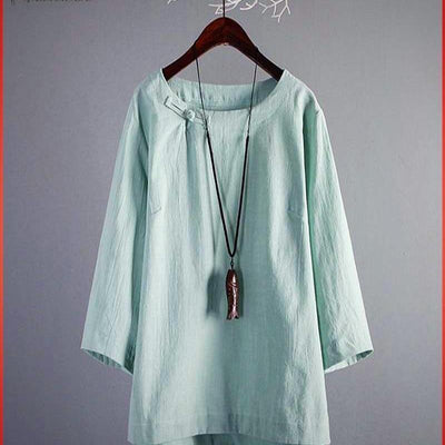 Women's Tunic Tops Vintage Linen Blouse