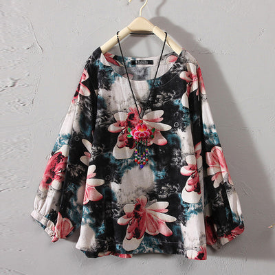 CASUAL  RETRO FLORAL PRINTED TOP