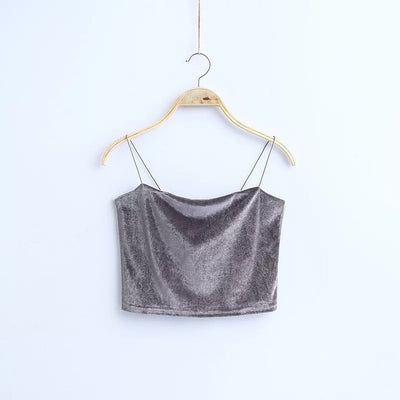 VELVET SHORT CROP TANK TOP