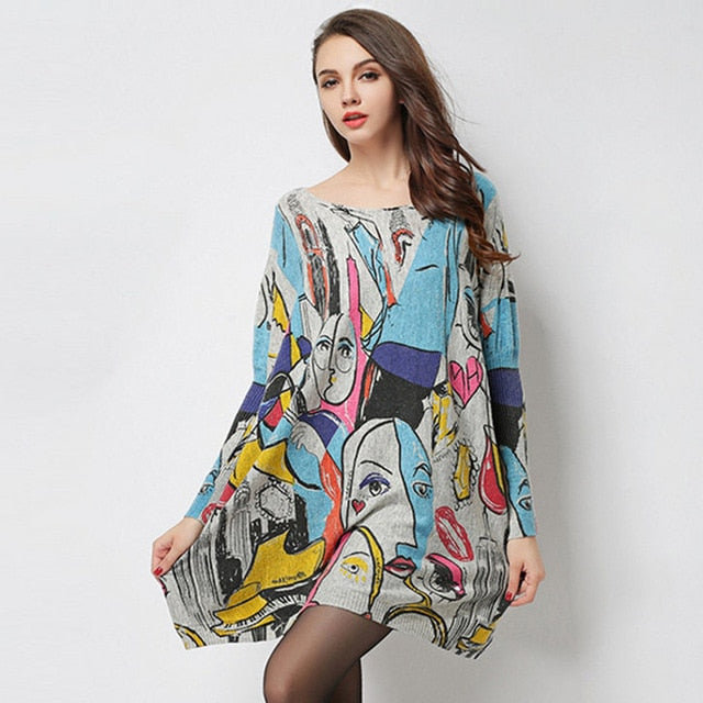 Casual loose  Abstract Painting Patterned pullover sweater