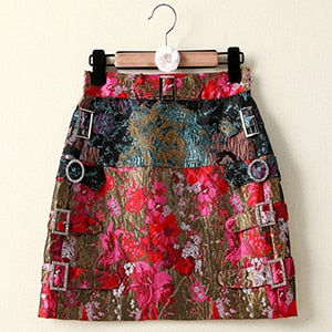Crystal Diamonds Print Elegant Mini Skirt