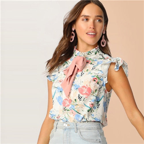 Multicolor Tie Frilled Neckline Floral Top