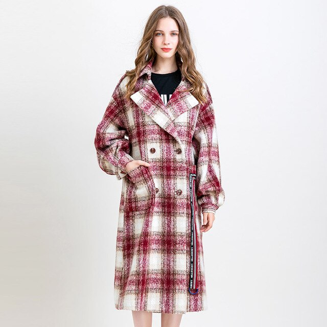 VINTAGE PLAID FASHION PRINT WOOLEN COAT