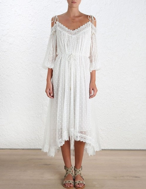 White Lace Long Beach Dress