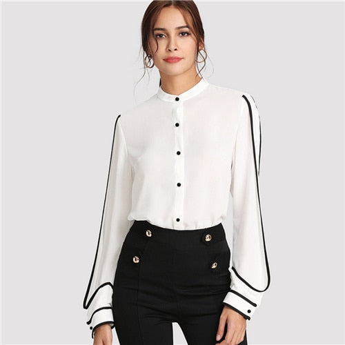 White Elegant Black Striped Blouse