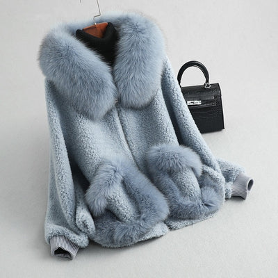 REAL FOX FUR HOOD OVERCOAT