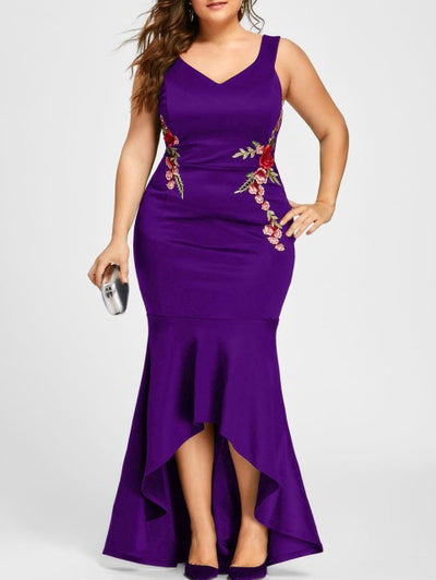 Embroidery Rose Evening Dress