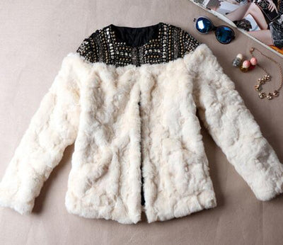 HAND MADE BEADING FAUX FUR COAT