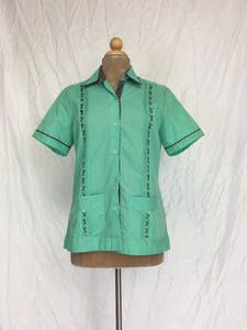 Women's traditional short sleeve guayabera jarocho style acqua with black contrast