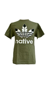 NATIVE print unisex crew neck tshirt in black-n-white on military green