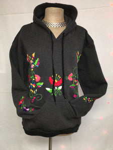 Embroidered hoodie gray pull over one size XL/2X