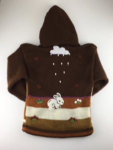 Peruvian style kids hoodie sweater size 4 brown