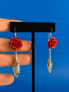 One of a kind Rose dangle earrings in sterling silver