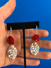 Bedazzled rose dangle statement earrings in sterling silver and CZ small
