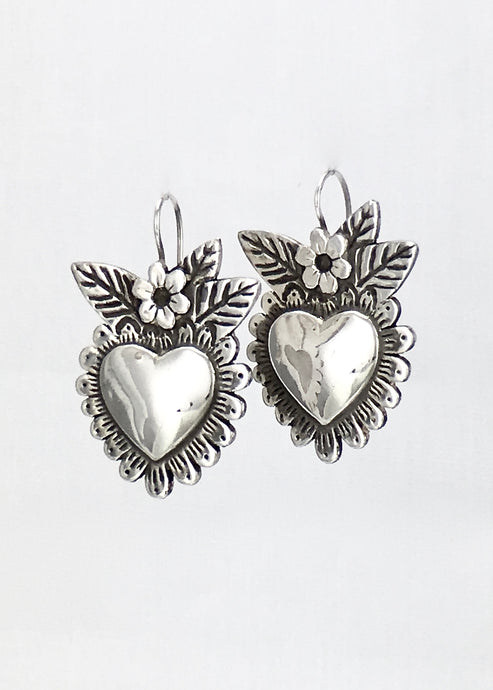 Heart blossoms milagro style drop earrings in sterling silver medium
