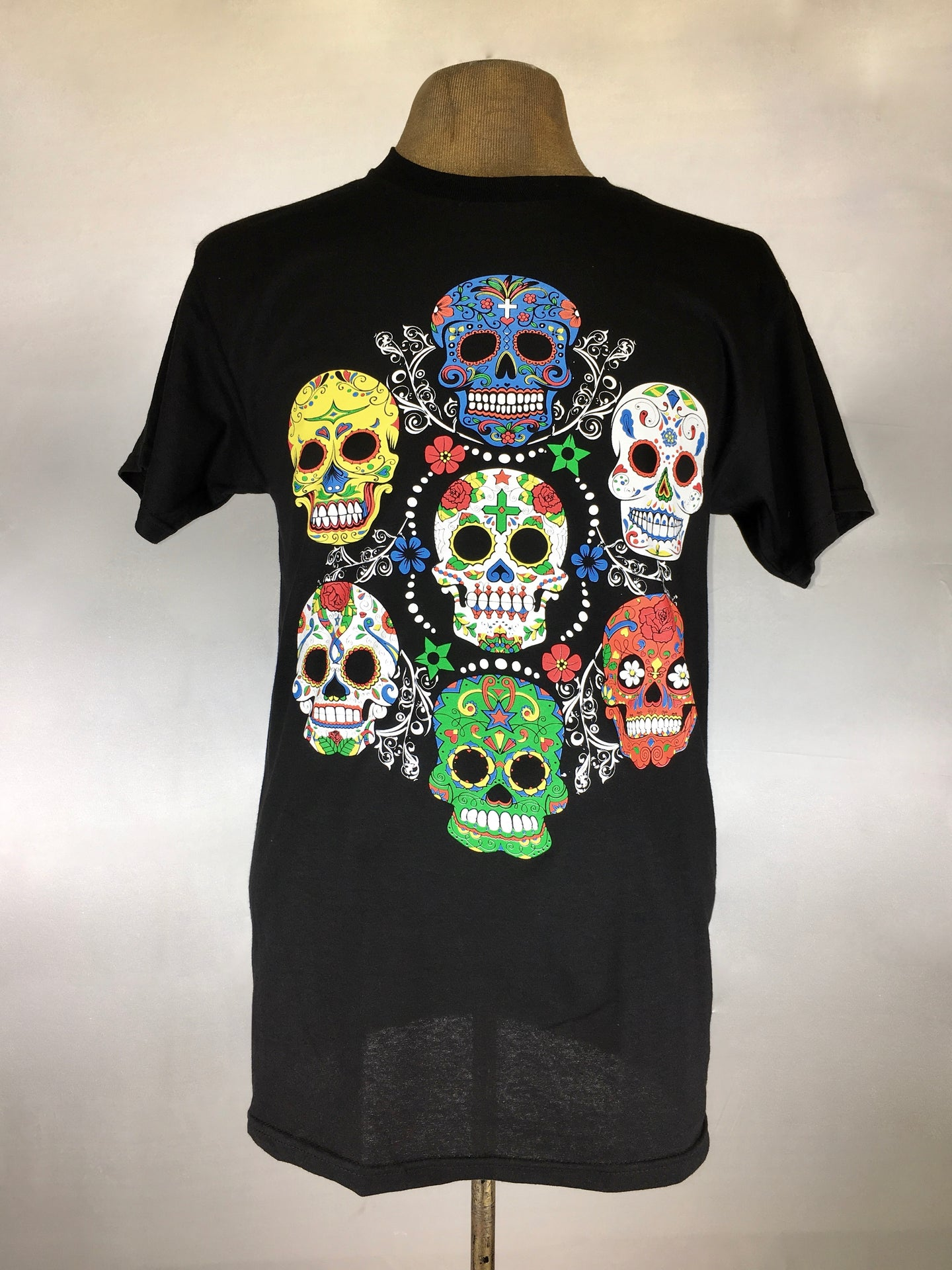 Day of the dead-  seven skull silk screen graphic men's tee