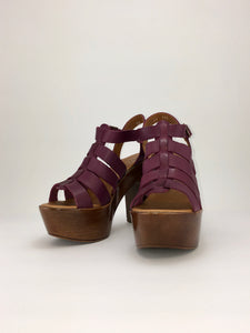 Platform heel GRAPE PURPLE handmade huarache sandal 003