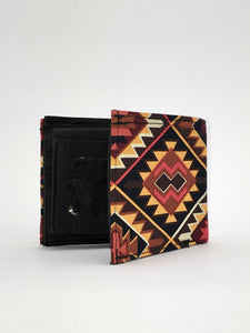 Geometric print handcrafted billfold wallet