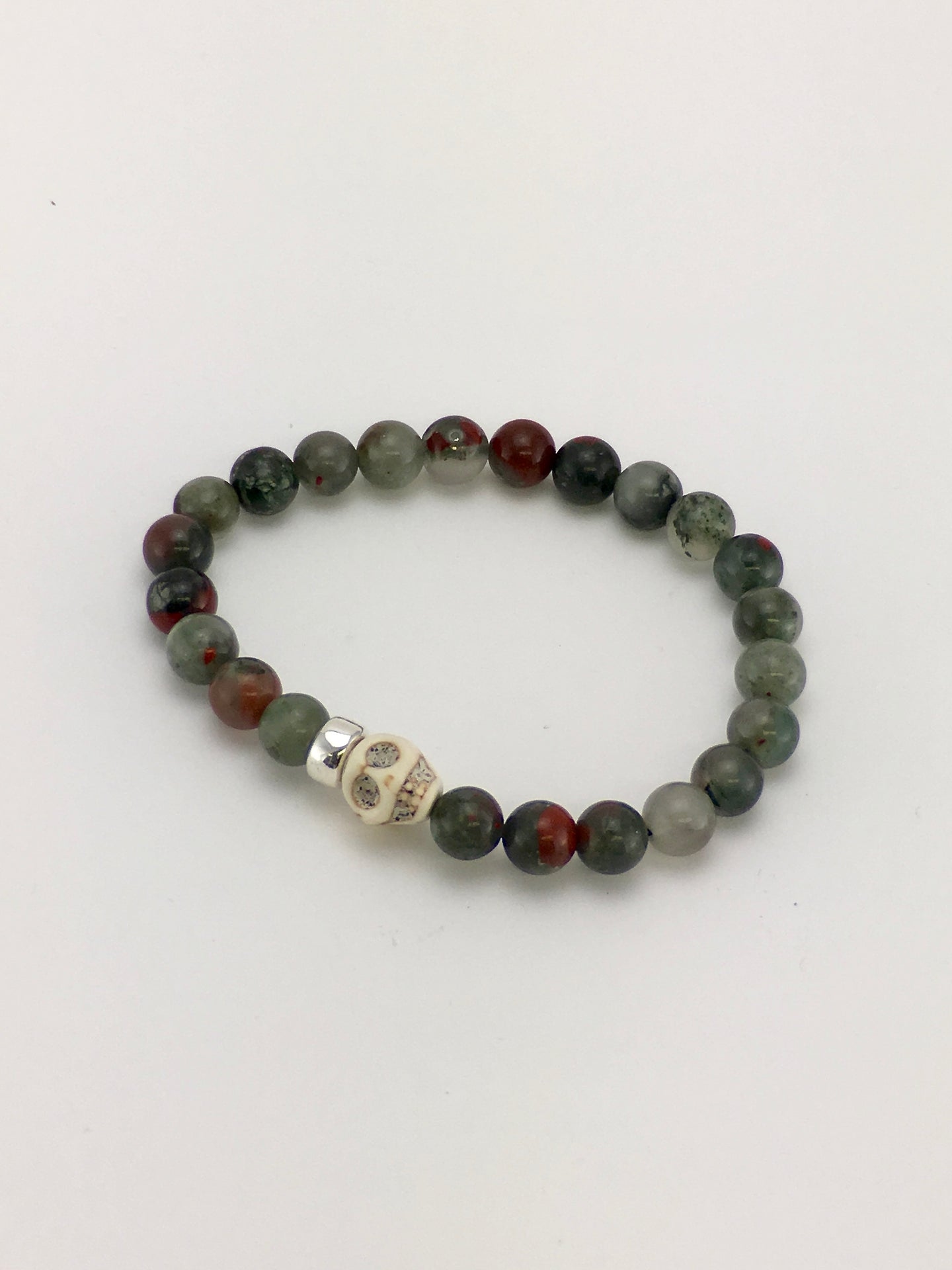 One of a kind stretch adjustable BLOODSTONE gemstone skull bracelet