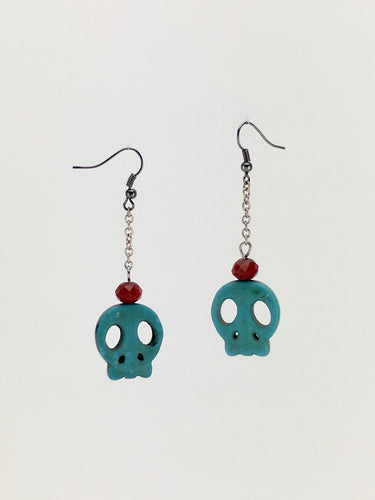 One of a kind handcrafted dangle BLUE SKULL earrings