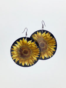 Sunflower handcrafted statement dangle shell earrings