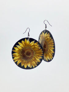 Large shell handcrafted dangle earrings Sunflower print gold