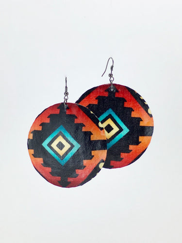 Large shell handcrafted dangle earrings geometric ojo de dios print