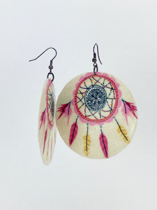 Large shell handcrafted dangle earrings dreamcatcher print pink on white