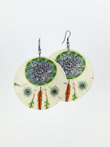 Large shell handcrafted dangle earrings Dreamcatcher print green on white