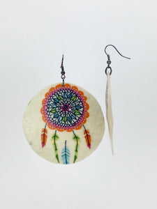 Large shell handcrafted dangle earrings Dreamcatcher print orange on white