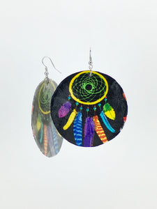 Large shell handcrafted dangle earrings Dreamcatcher print black and yellow