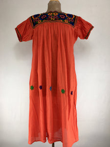 Chiapas traditional huipil dress - orange