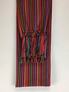 Manta Inca handrafted rebozo RED base multicolor brocade