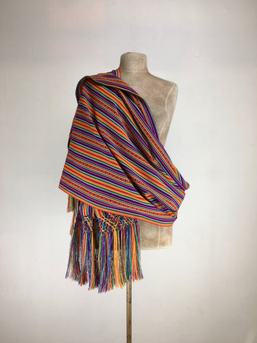 Manta Inca rebozo shawl baby sling in marigold and amaranth colors