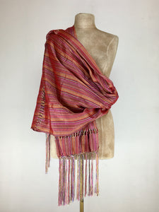 Mexican traditional silk rebozo - multicolor stripes